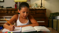 Girl Does Homework 1815 Stock Footage