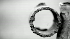 Old rusty iron pipe Stock Footage