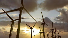 Sunset Wind Turbines 2 Stock Footage