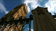 Big Ben Low Angle with Fence Stock Footage