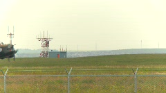 aircraft,  WWII Lancaster bomber, #28 taxi past antennae array - stock footage