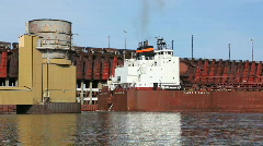Ore Ship Backs Into Dock 2 Stock Footage