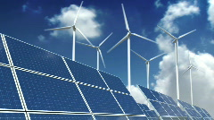 Solar Panels and Wind Turbines - Green Energy Stock Footage