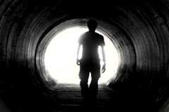 Man in tunnel V2 - NTSC - stock footage