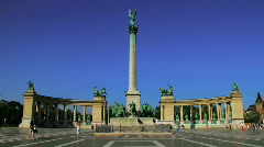Heroes Square Budapest Hungary Timelapse Stock Footage