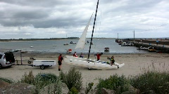 Sailing at Carn Beach Stock Footage