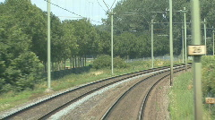Train on railway track makes bend on rails Stock Footage