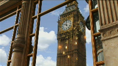Big Ben Reflection WS Stock Footage