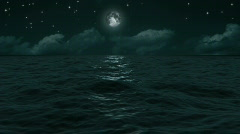 Blue Moon Ocean Waves Stock Footage