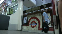 Stock Video Footage of Subway - Tube Train Doors Close, London