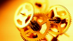 Gold gears old clockwork Stock Footage