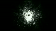 Accident impact bullet holes,broken cracked damaged glass,hit ice windows. Stock Footage
