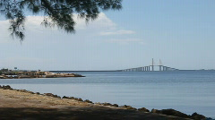 In The Distance, The Sunshine Skyway Bridge Stock Footage