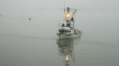 Fishing boat in fog Valdez Alaska P HD 7518 Stock Footage
