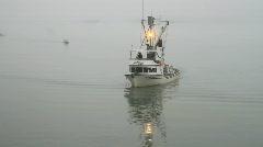 Fishing boat in fog Valdez Alaska P HD 7518 - stock footage