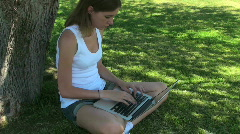 Girl Computer Nature Stock Footage