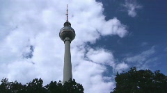 Berlin - Fernsehturm with Waving Trees Stock Footage