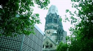 Stock Video Footage of Berlin - Kaiser Wilhelm Memorial Church with Weaving Trees