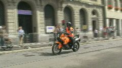 Inline race security motor bike Stock Footage