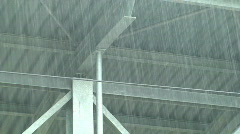 Rain over train station Stock Footage