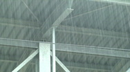 Rain over train station Stock Footage