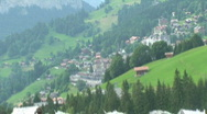 Wengen filmed view out of train Stock Footage