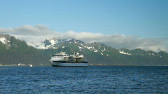 Cruise ship Seward Alaska birds fly Alaska P HD 8133 Stock Footage