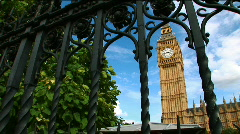Big Ben through Gate WS - stock footage