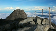 Stock Video Footage of 360 degree panorama from Mt. Kinabalu Low's peak