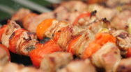 Stock Video Footage of HD720p24 Shashlik cooking over an open fire