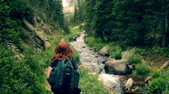 T204 hiking forest hike redhead Stock Footage
