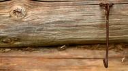 Stock Video Footage of Rusty metal hook on the old wooden door