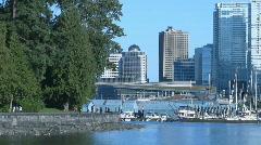 Vancouver Stanley Park Seawall & Skyline Stock Footage