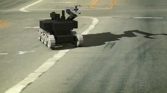 T204 bomb robot on street road swat Stock Footage