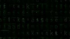 Alphabet character matrix background,input search letter,Big data storage. Stock Footage
