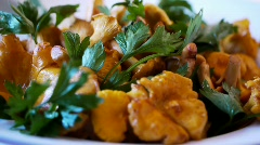 Chanterelle Turning Dish with Herbs - Variant 1 Stock Footage
