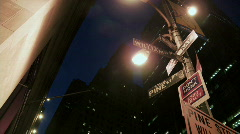 Street signs financial district Stock Footage