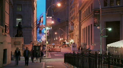 Stock Video Footage of wall street view at night