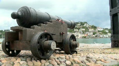 Ancient Canon Gun on Cobbles - stock footage