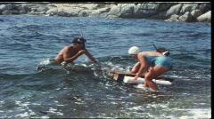 Children on raft (vintage 8 mm amateur film) Stock Footage
