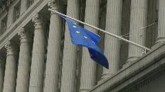 European union flag wall street Stock Footage
