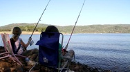 Stock Video Footage of 2 girls fishings