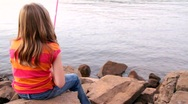 Stock Video Footage of Little girl fishing