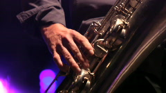 Sax player close Stock Footage