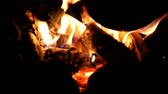 Stock Video Footage of Night campfire. Embers.