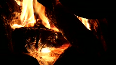Embers in the fire at night Stock Footage