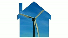 House symbol and wind turbine - HD Stock Footage