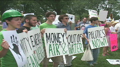Environmental activists protest outside US Congress Stock Footage
