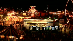 Night Shot of State Fair from Ferris Wheel (HD) c Stock Footage