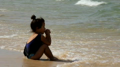 Little girl in shore - stock footage